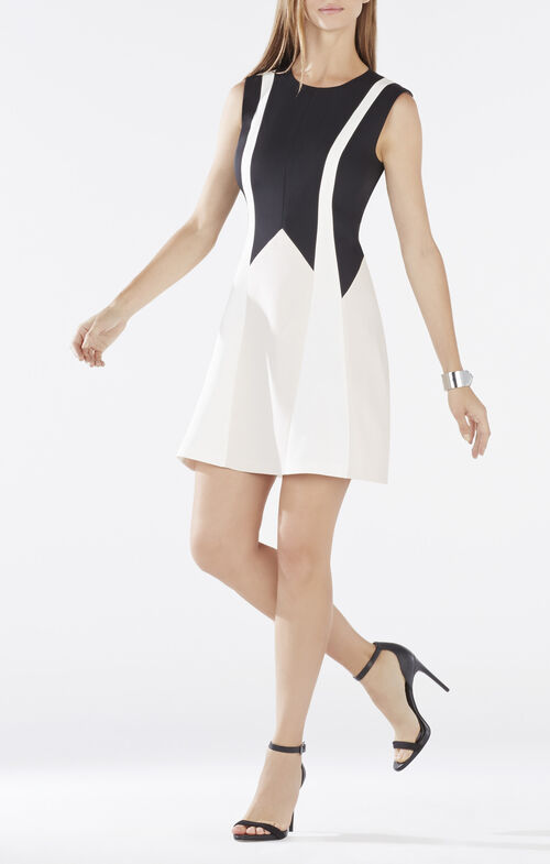 Abigayle Color-Blocked Fit-and-Flare Dress