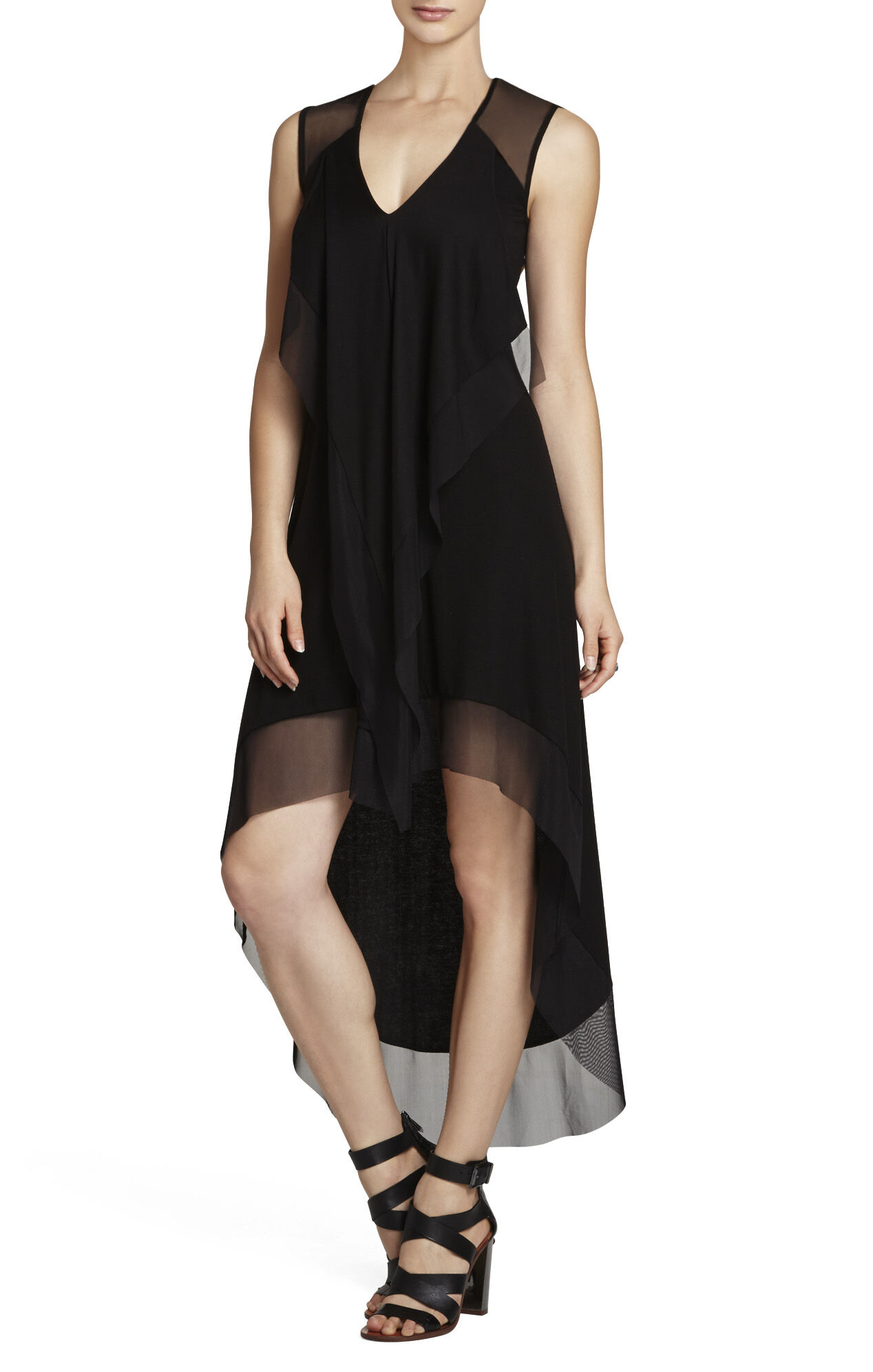Cydnee Draped Cascade-Front Contrast Dress