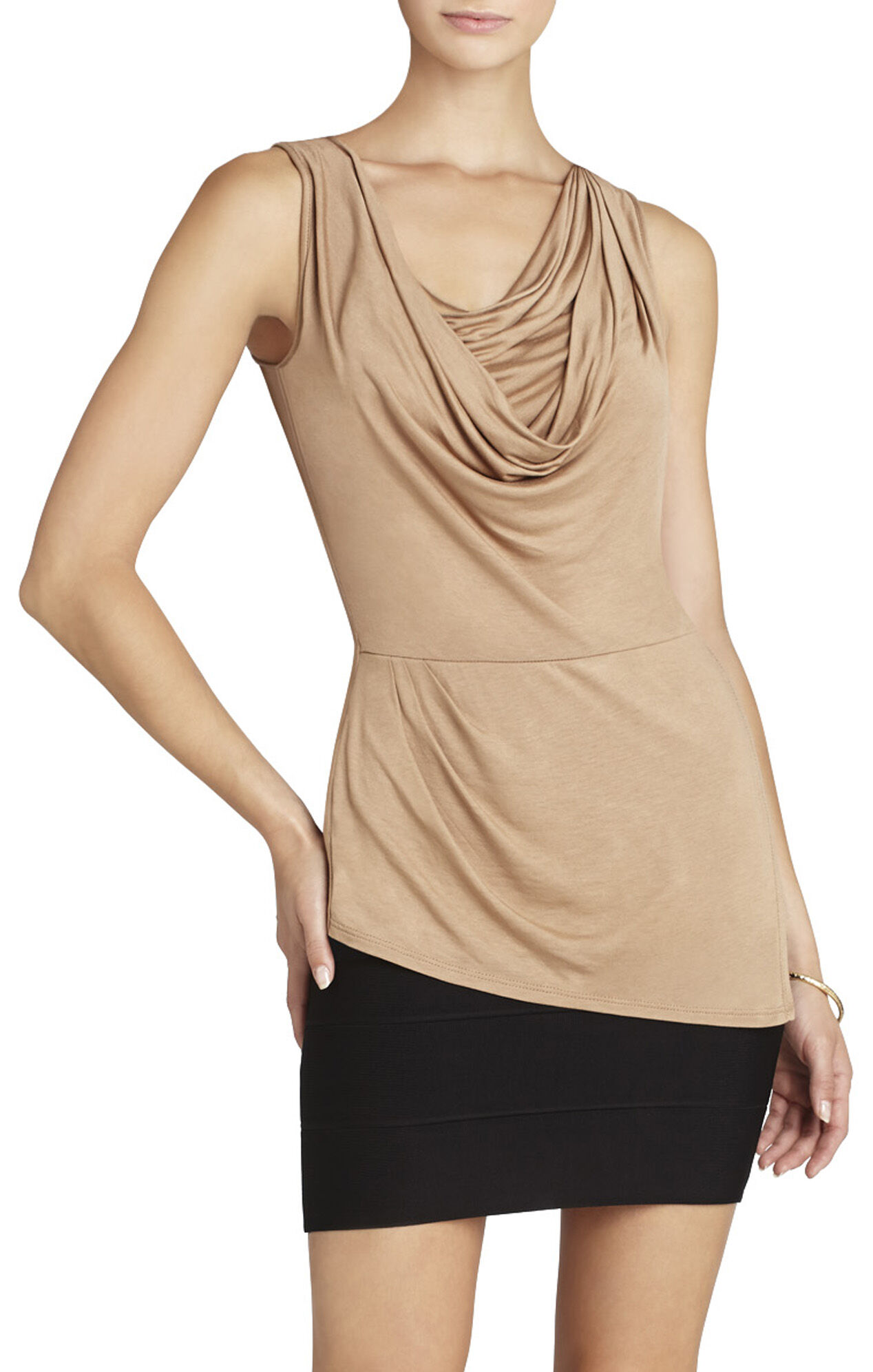 Jaylin Cowl-Neck Sleeveless Top