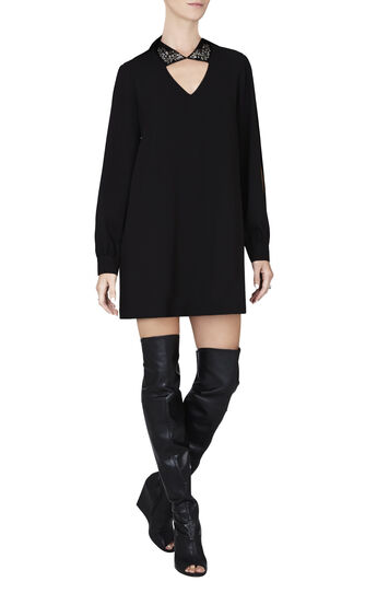 Irena Jeweled Collar A-Line Dress