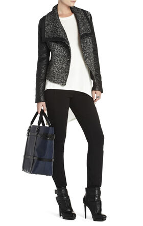 Contrast-Sleeve Tweed Jacket