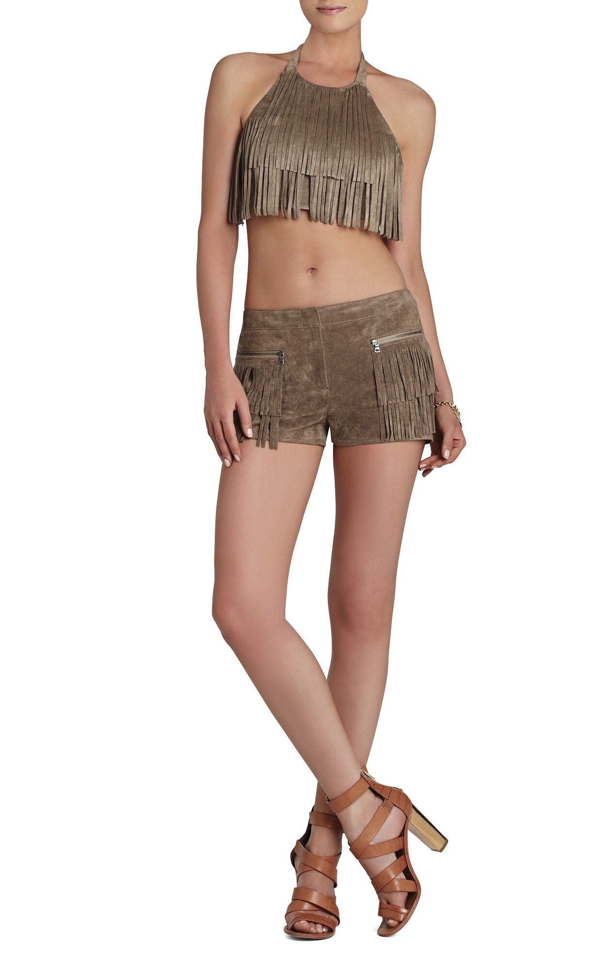 Kaley Fringe-Front Crop Top