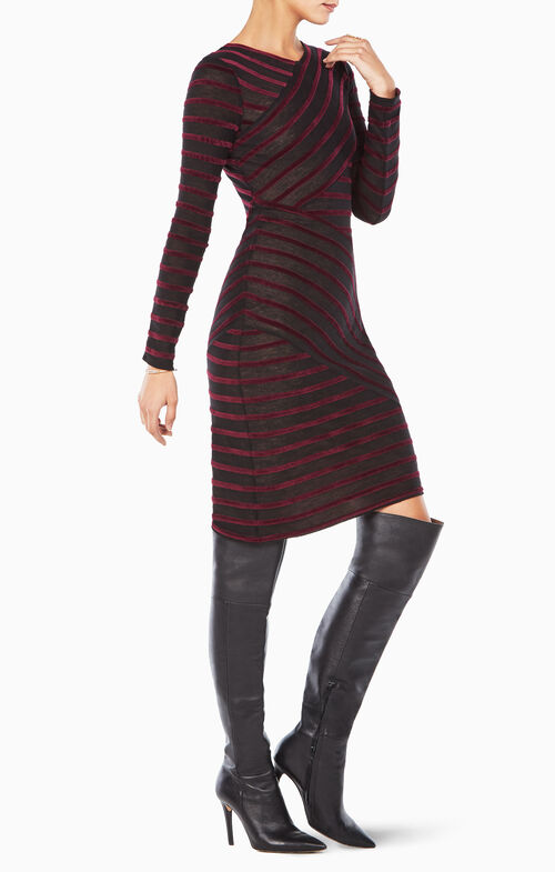 Jerri Velvet-Striped Dress