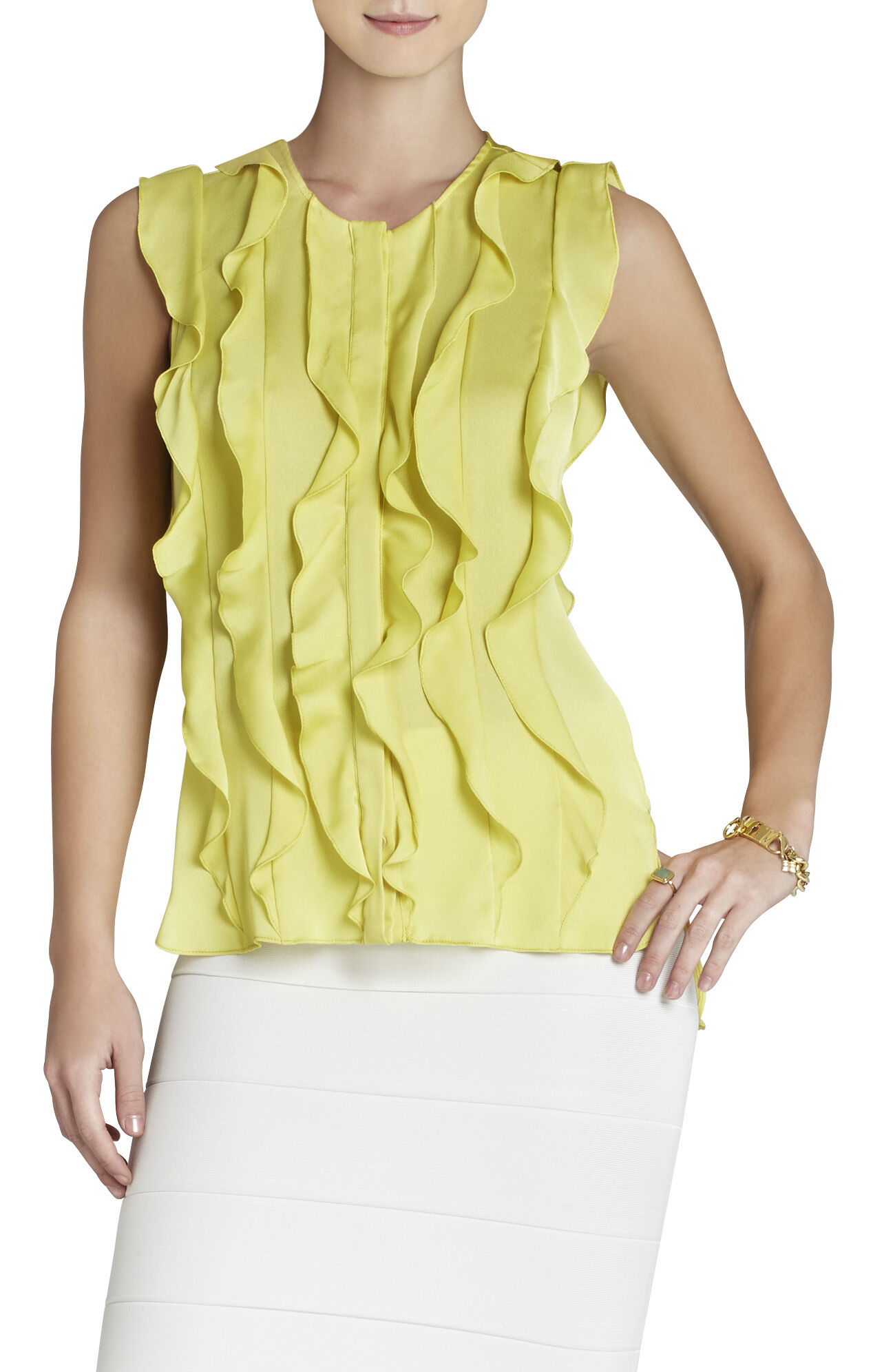 Camelle Sleeveless Ruffle Top