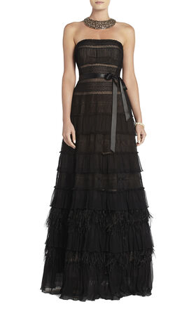 Elise Point d'Esprit Feather-Trimmed Dress