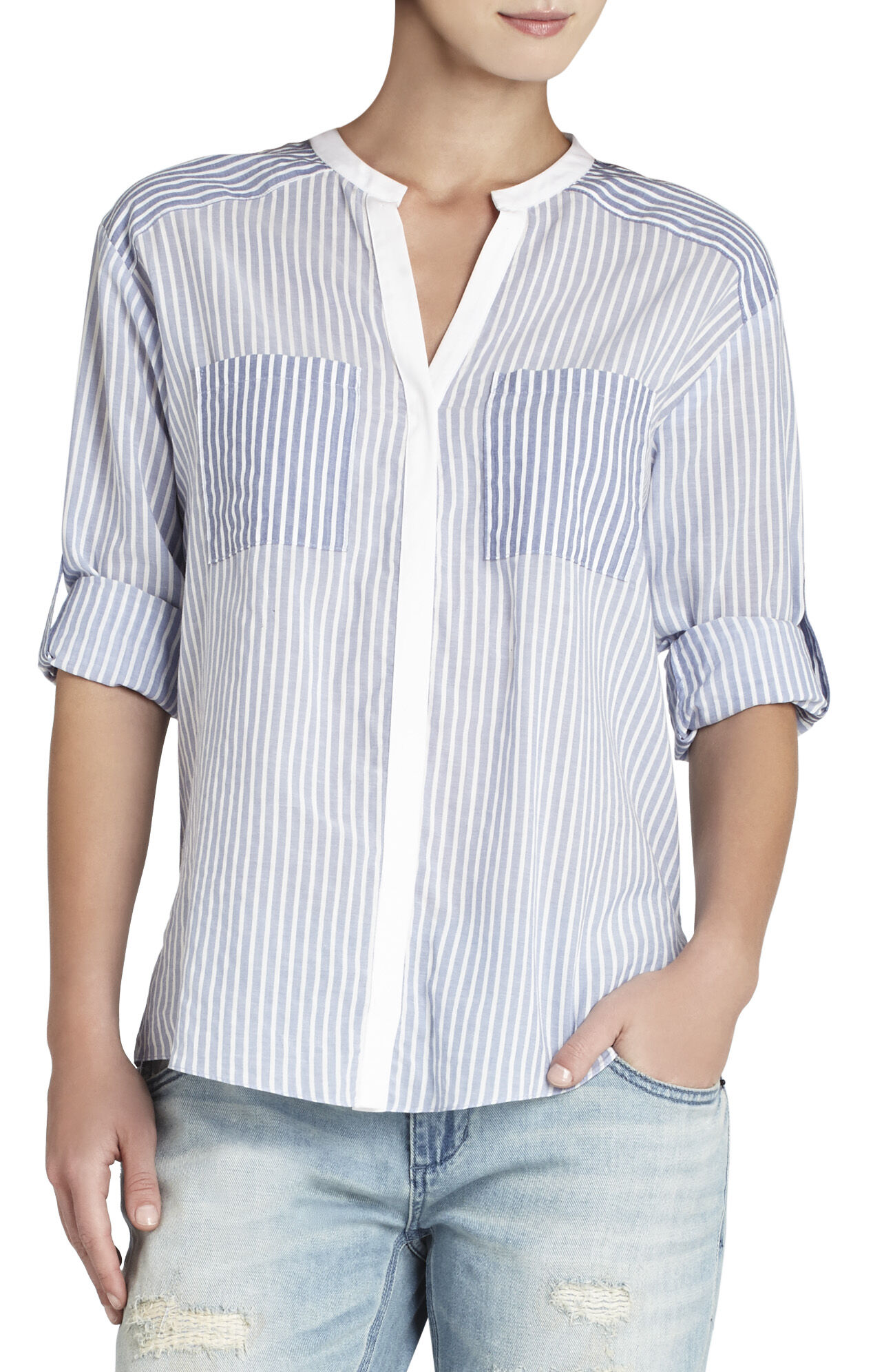 Randi Long-Sleeve Pocket-Front Shirt