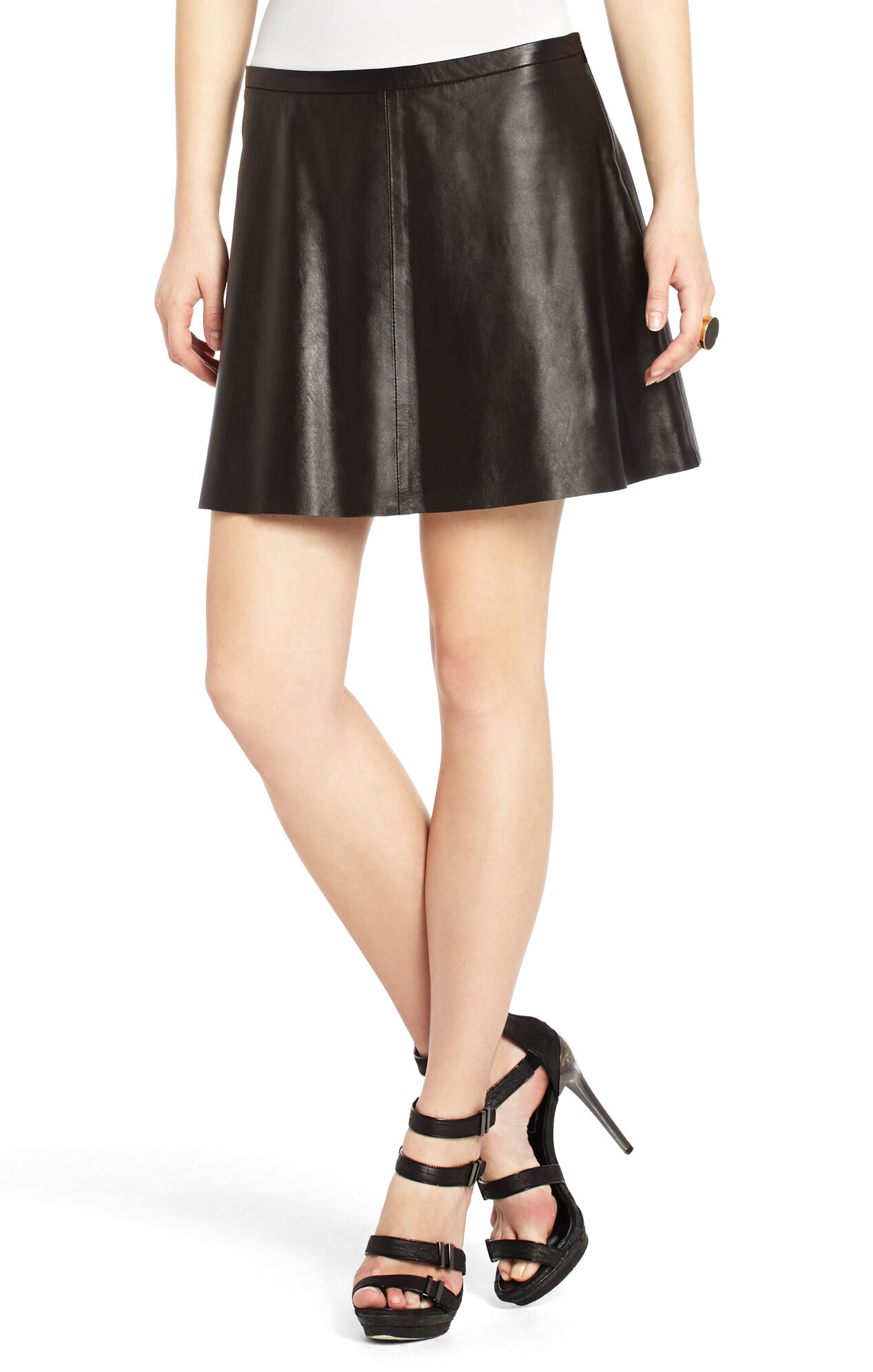 Sheryl Flared Leather Skirt