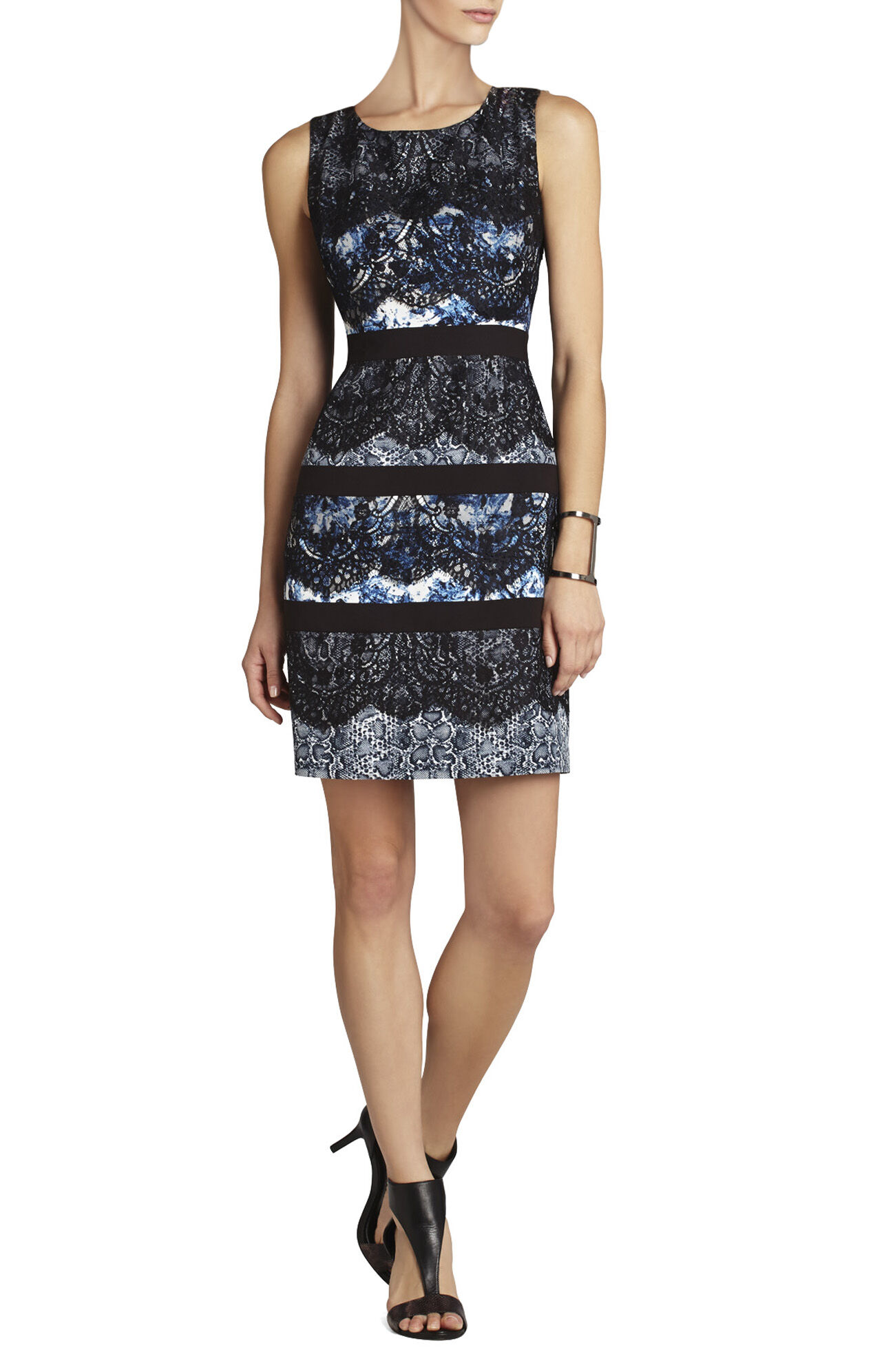 Makenna Sleeveless Lace and Print Dress