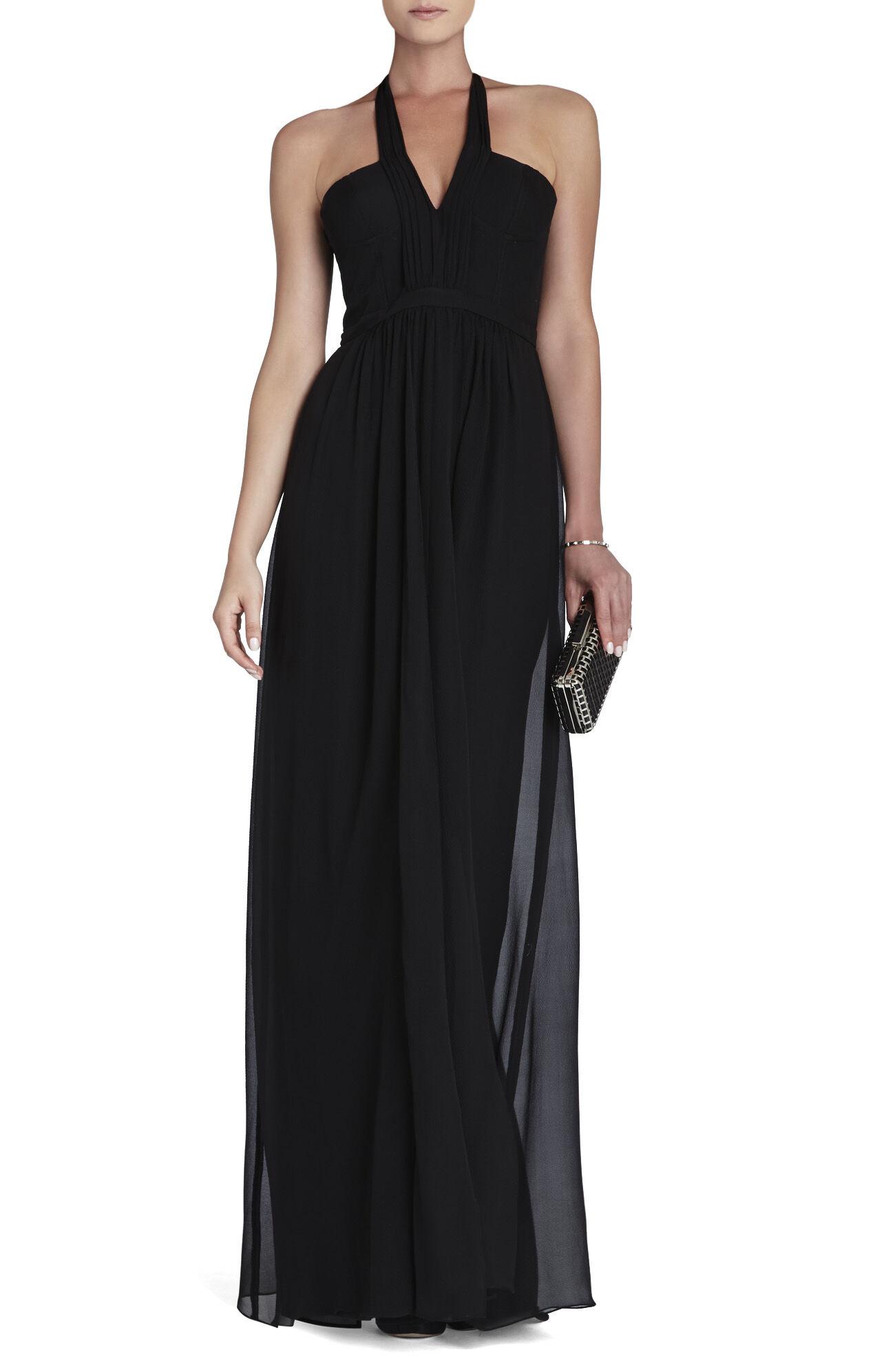 Starr Deep V-Neck Silk Halter Dress