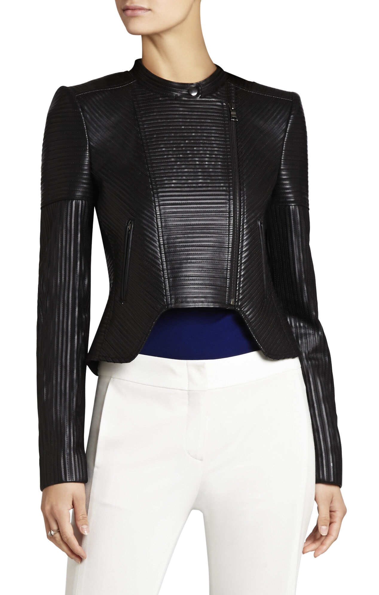 Conrad Faux-Leather Striping Moto Jacket