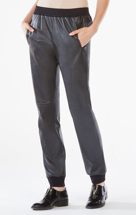 Sugi Faux-Leather Sporty Pant