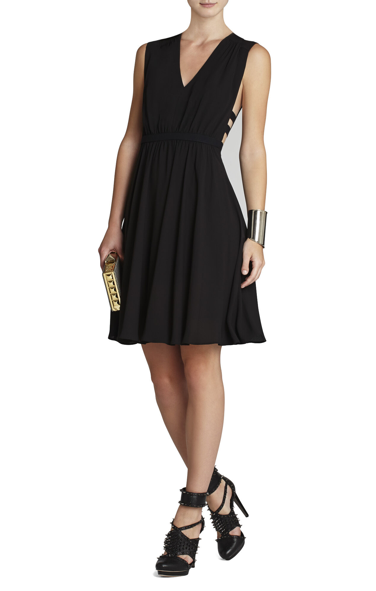 Rachel Gathered-Waist Sleeveless Dress
