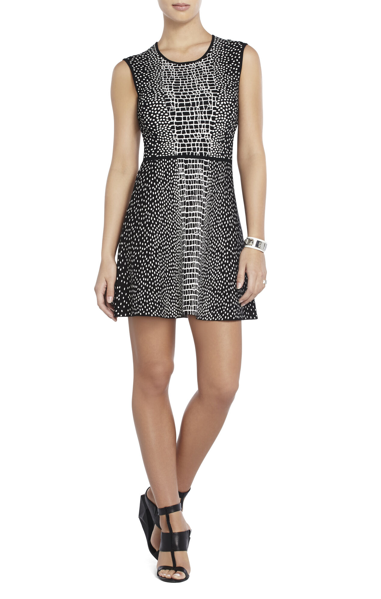 Dina Croc-Jacquard Dress