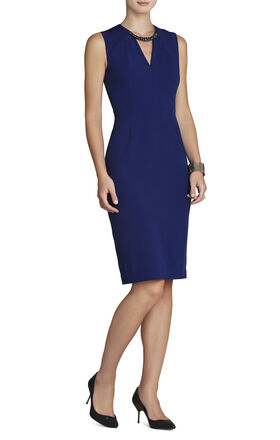 Samantha Beaded-Neck Sleeveless Dress