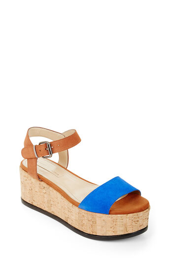 Lorenzo Color-Blocked Platform Suede Sandal