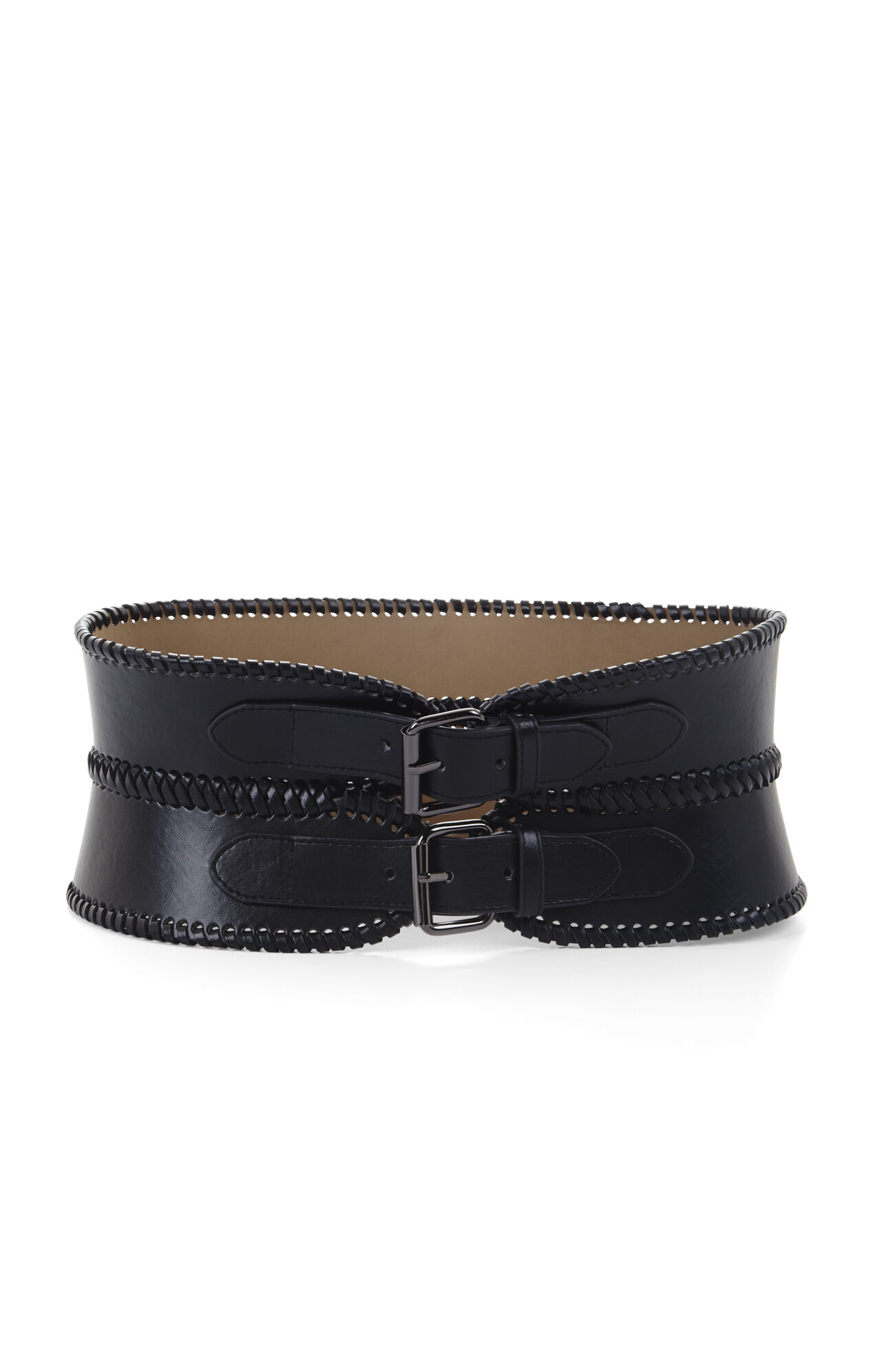 Whip-Stitched Double-Buckle Waist Belt