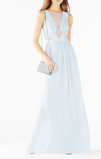 Gabriele Sheer Bodice Pleated Gown