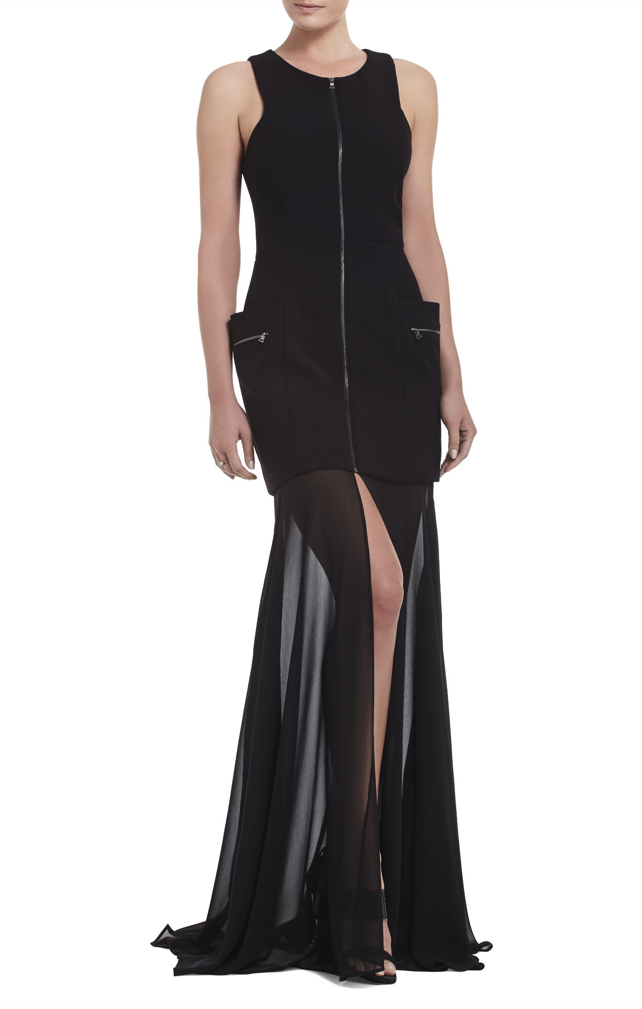 Annalisa Sleeveless Sheer-Skirt Dress