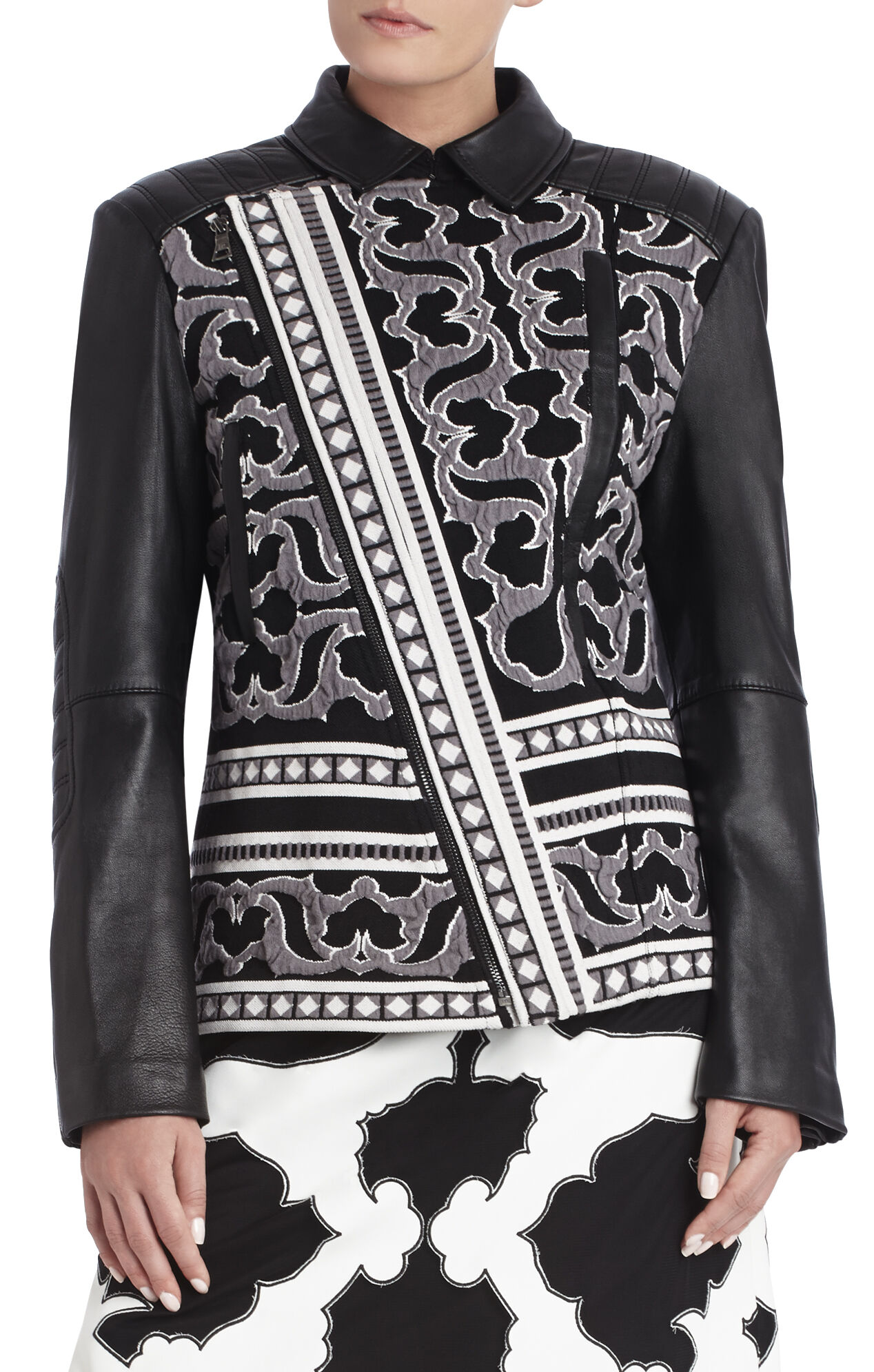 Runway Timona Jacquard Leather Jacket