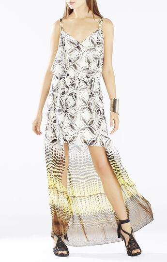 Karisa Cascade Ruffle Asymmetrical Gown