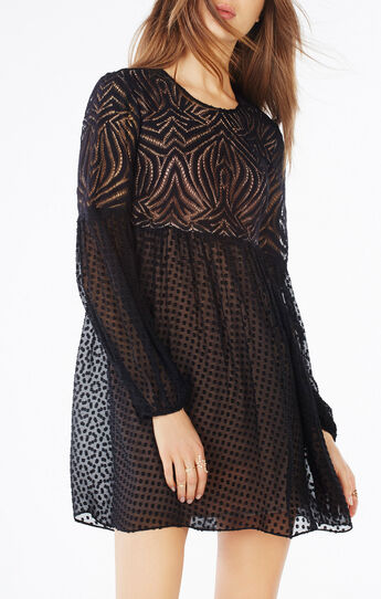 Kitra Lace Peasant Dress