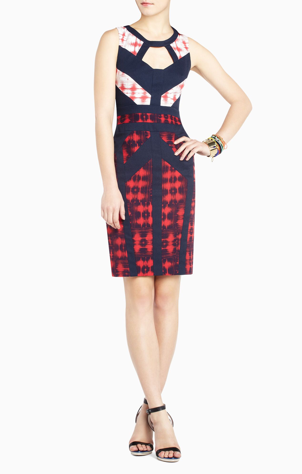 Averie Print-Block Sheath Dress