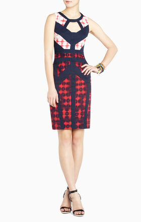 Averie Print-Block Sheath Dress