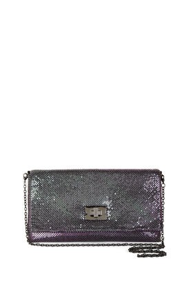 Blake Metallic Mesh Turn-Lock Clutch