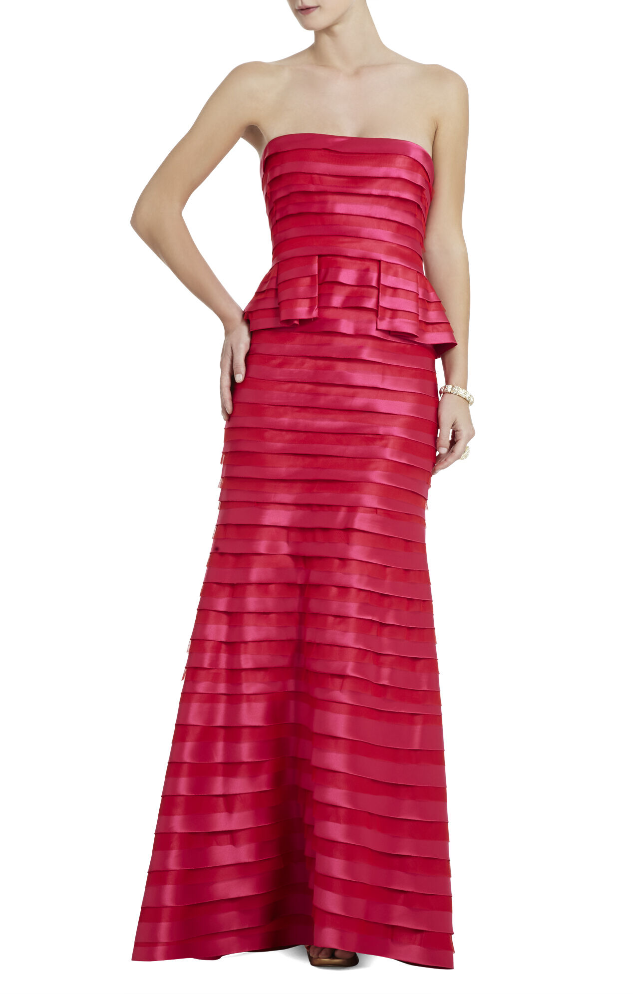 Rose Strapless Tiered Gown
