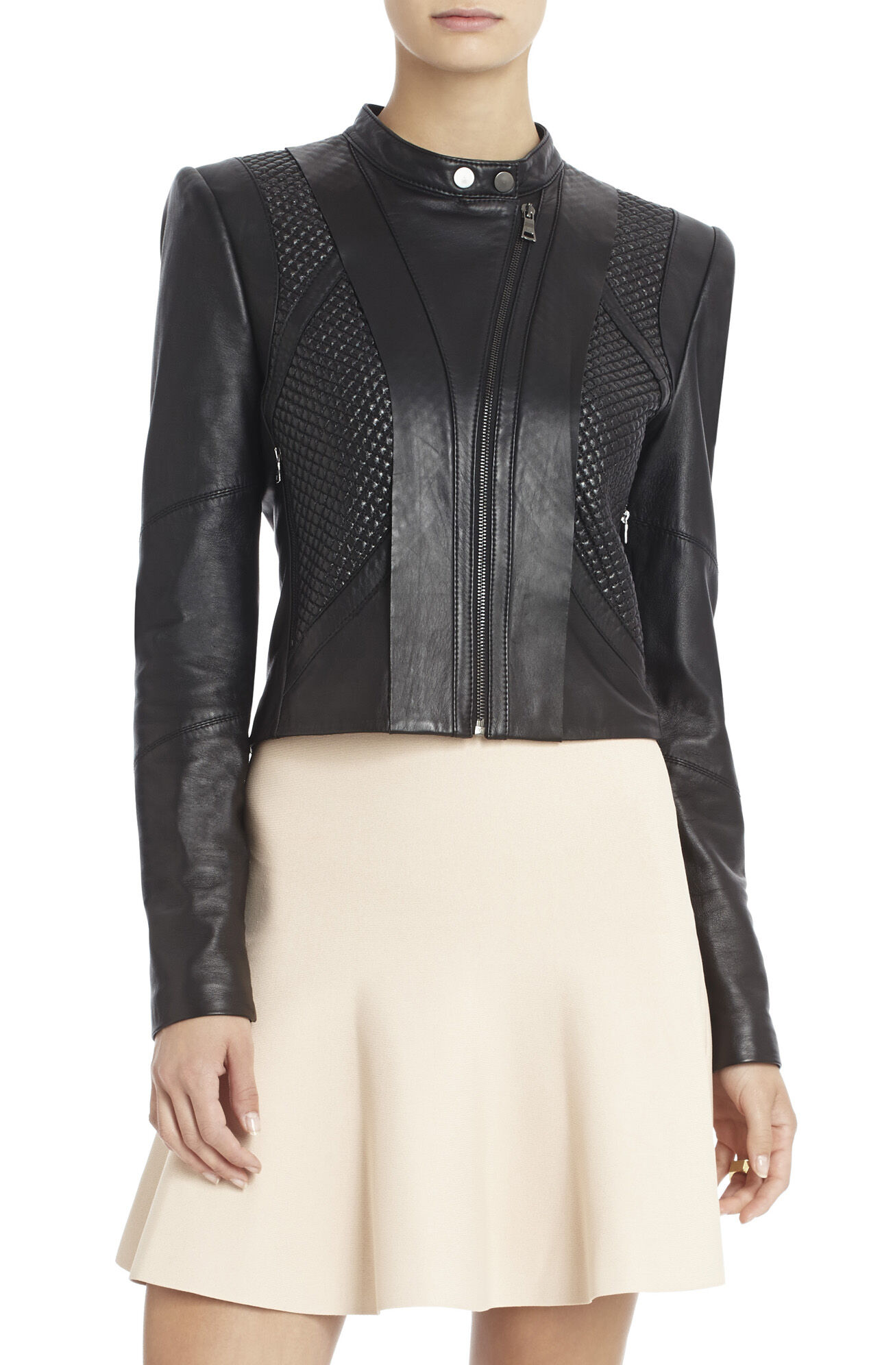 Misa Blocked Leather Moto Jacket
