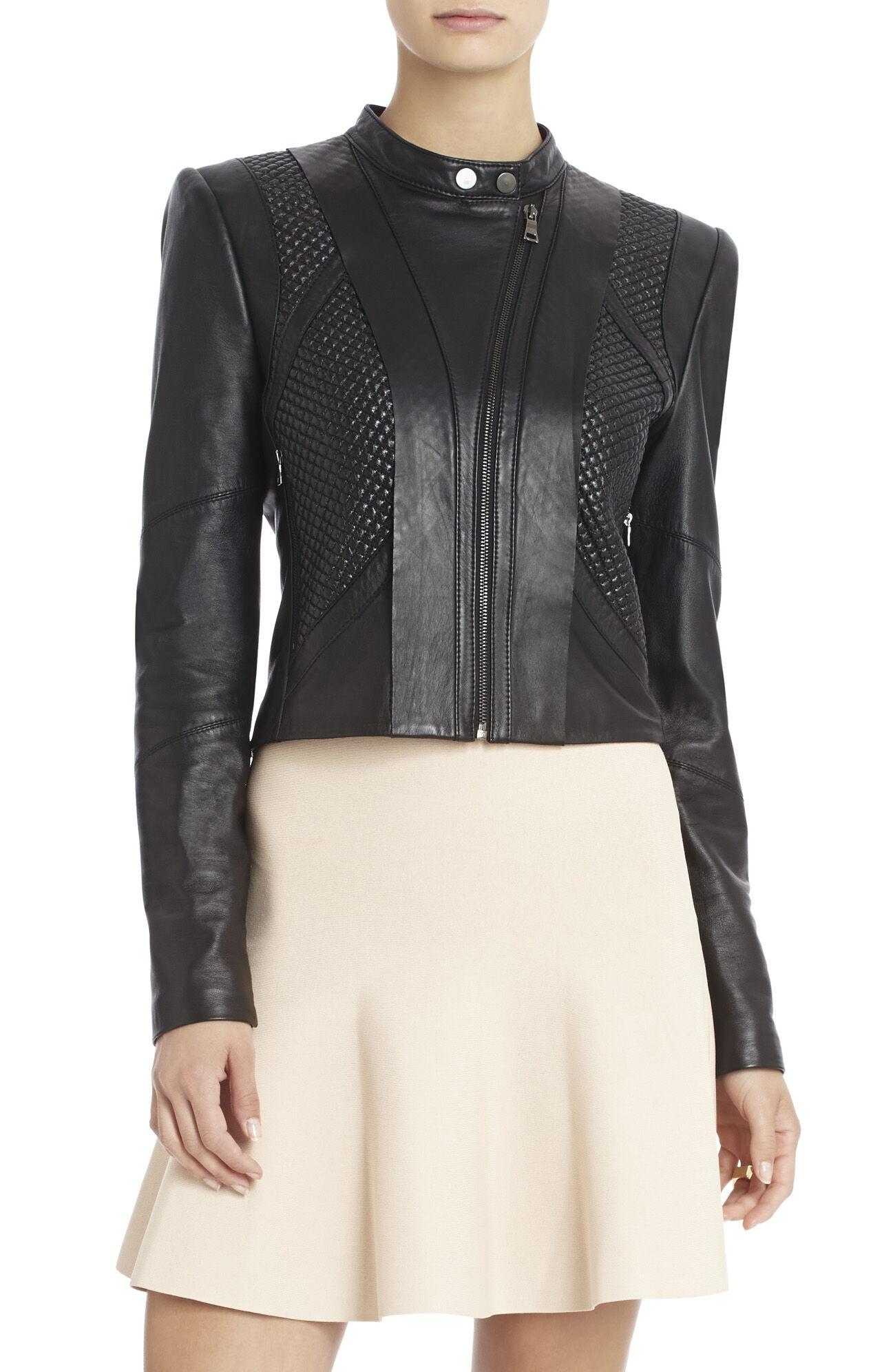 Misa Blocked Leather Moto Jacket