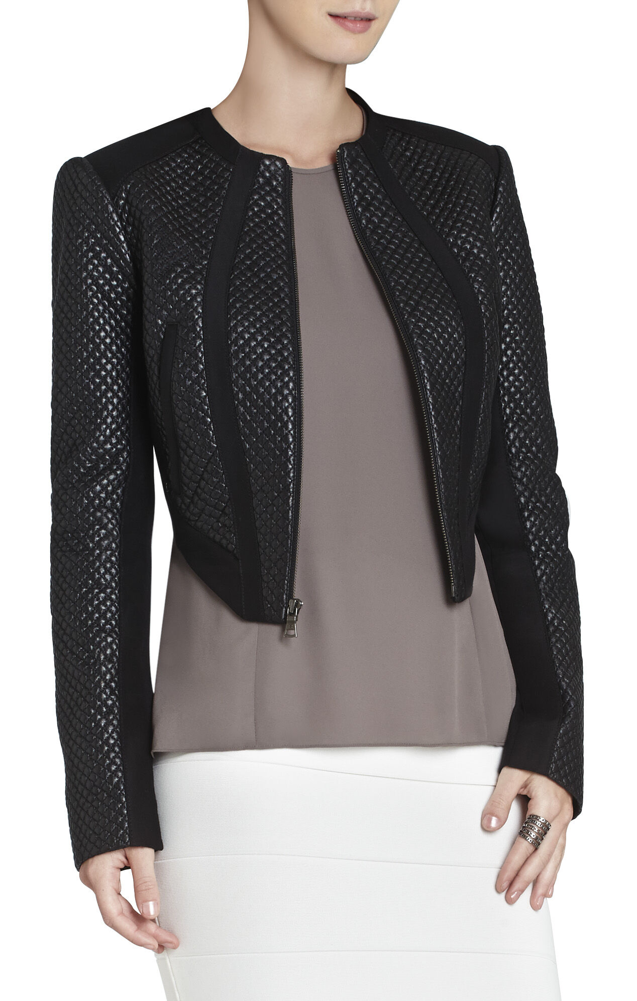 Hansen Quilted Faux-Leather Moto Jacket