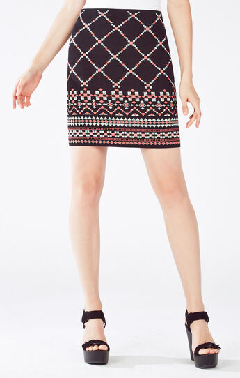 Pavel Geometric Knit Jacquard Power Skirt
