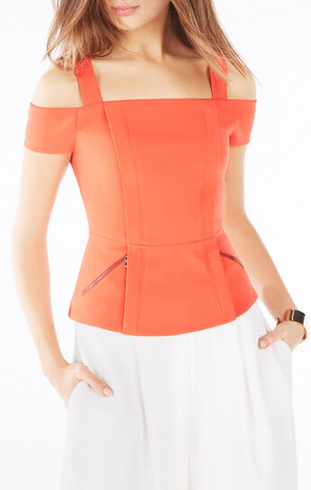 Emelya Cold-Shoulder Peplum Top