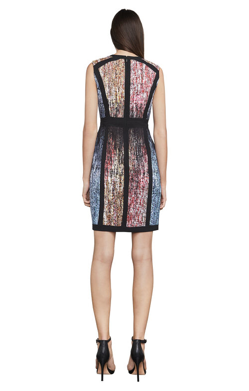 Gwenyth Sleeveless Print-Blocked Sheath