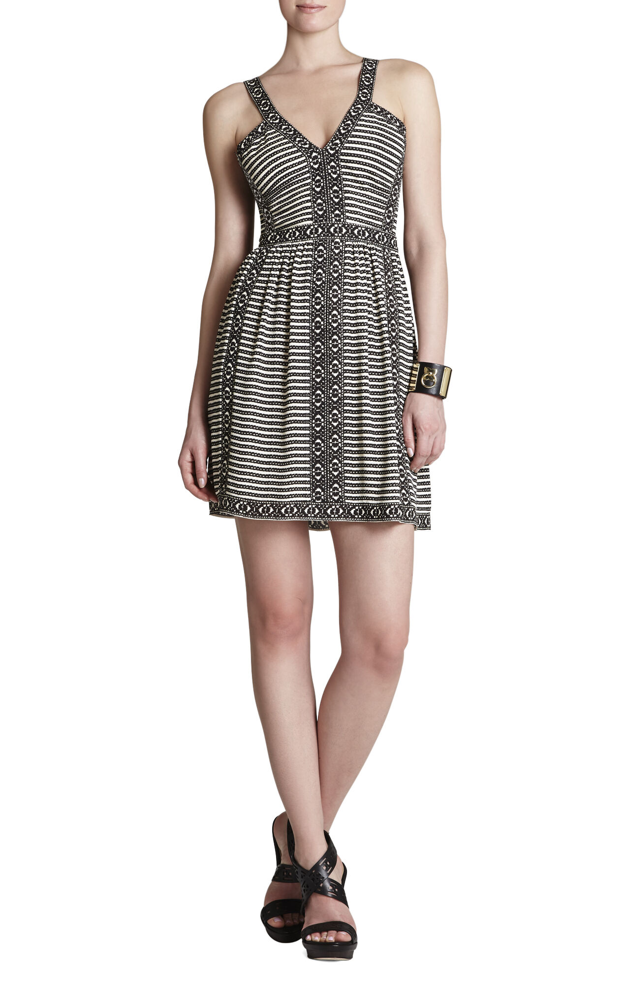 Melanie Printed Sleeveless V-Neck Dress