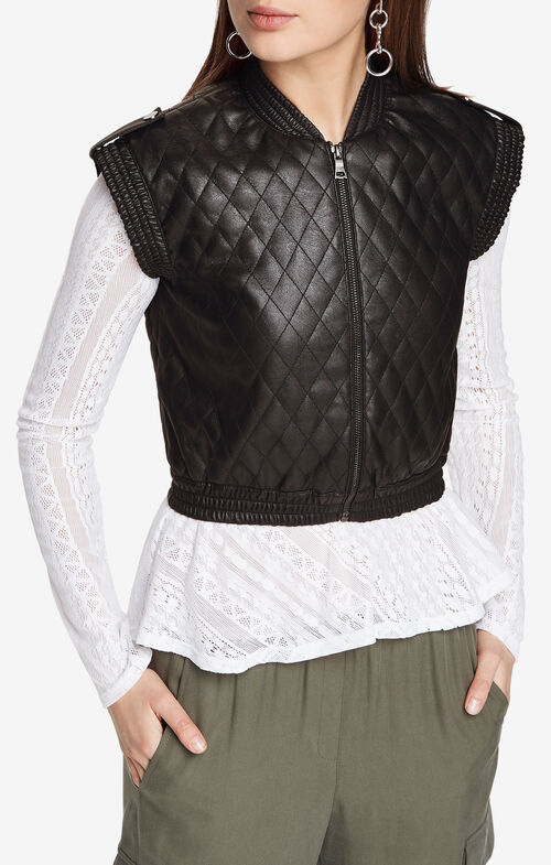 Ace Quilted Faux-Leather Vest
