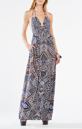 Kamala Halter-Neck Medallion Print Maxi Dress
