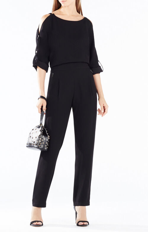 Enzo Shoulder-Zip Jumpsuit