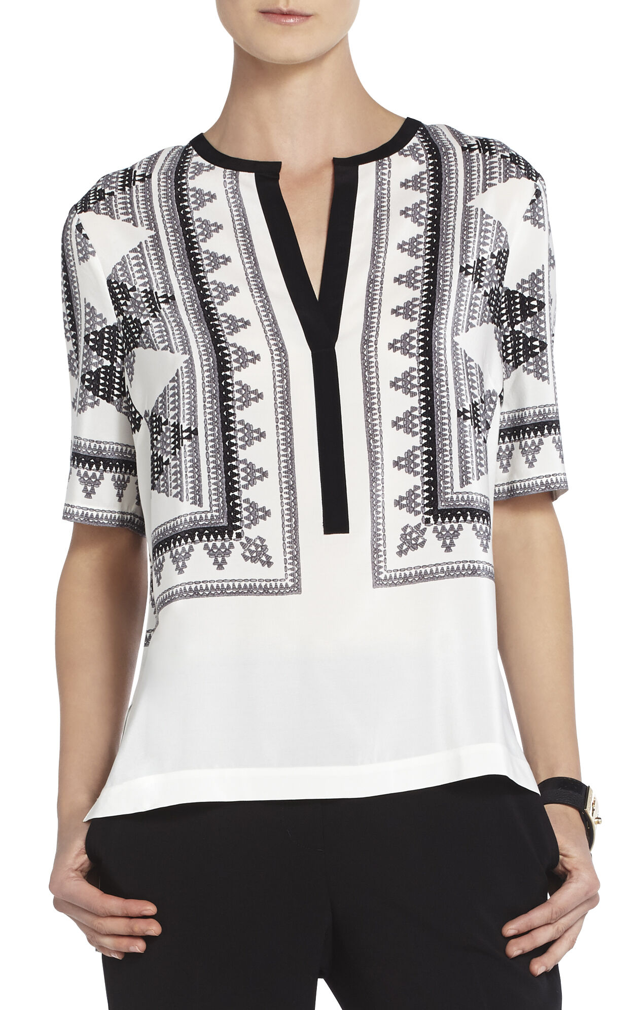 Fauve Printed Silk Top
