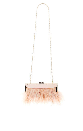 Portia Feather-Trim Lucite Clutch