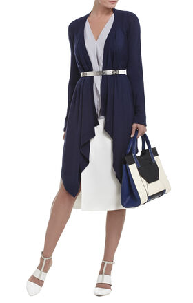 Jacklin Raglan-Sleeve Draped-Front Cardigan