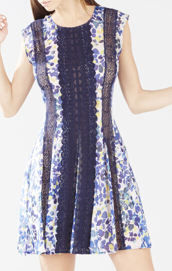 Jalena Printed Lace Stripe Dress