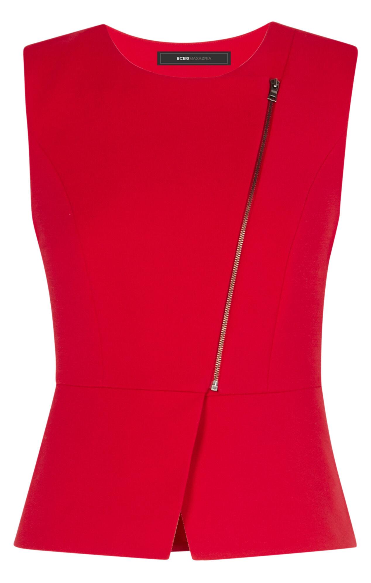 Deisi Asymmetrical Zip-Up Peplum Top