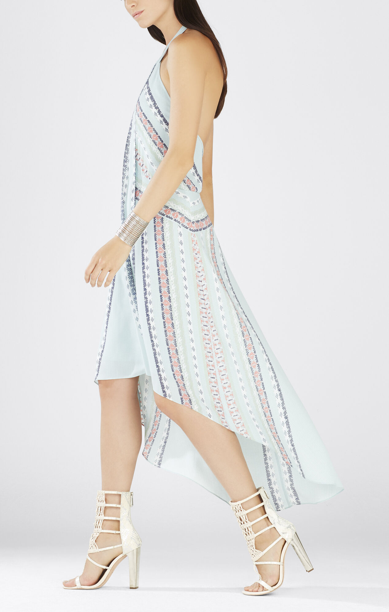 Ginevia Scarf Print Hi-Low Hem Halter Dress