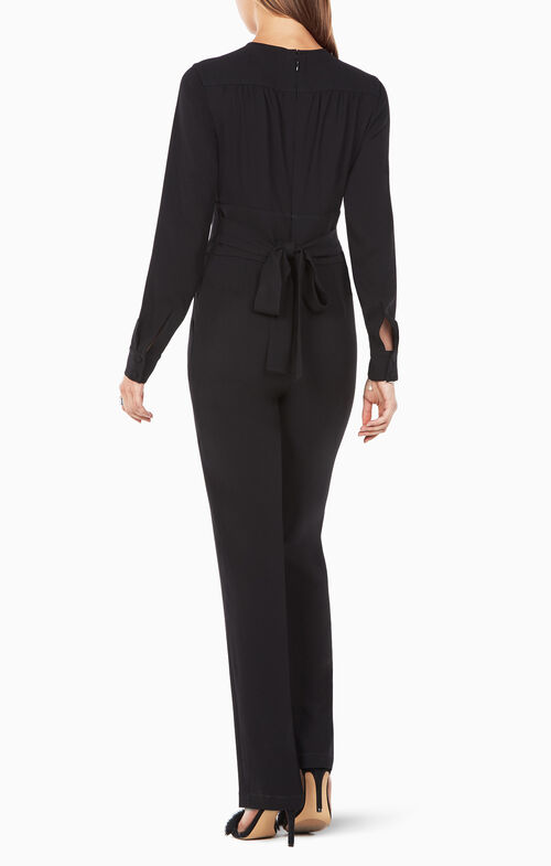 Schyler Long-Sleeve Button-Down Jumpsuit