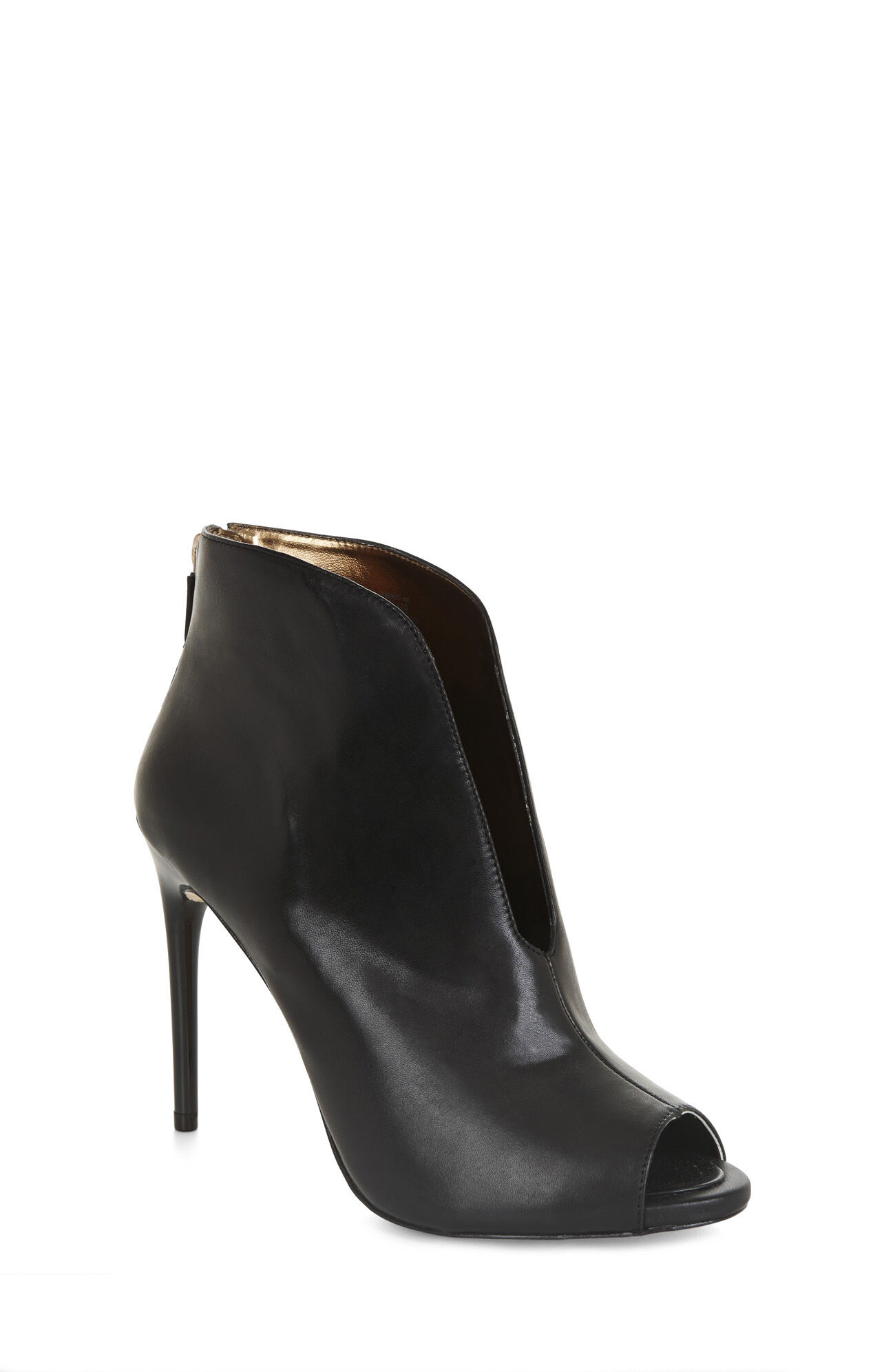 Peep-Toe High-Heel Ankle Boot