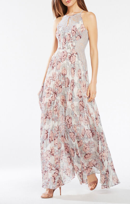Misty Pleated Floral Print Gown