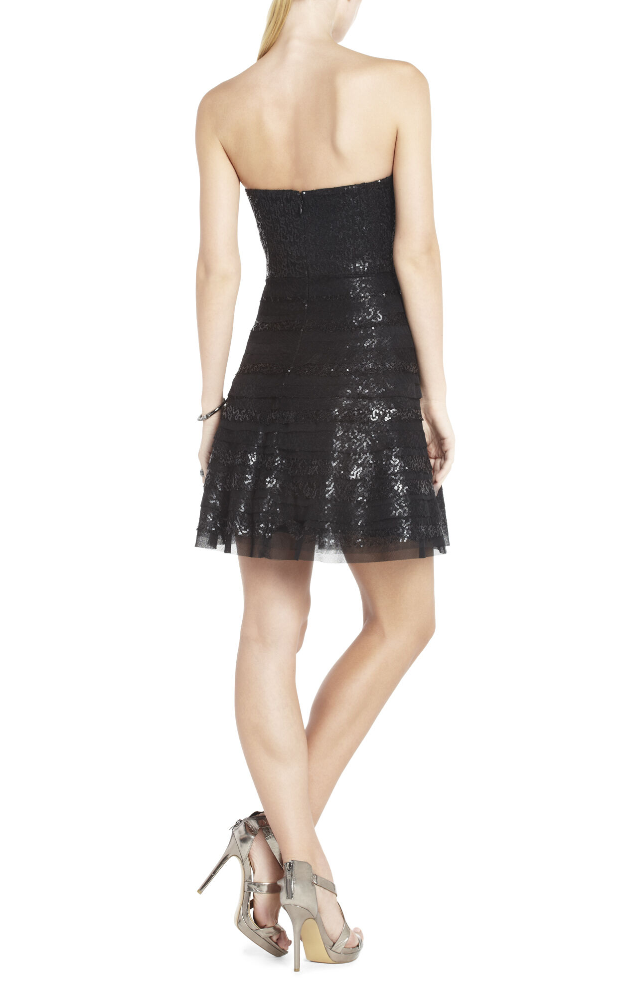 Seri Strapless Sequined Cocktail Dress