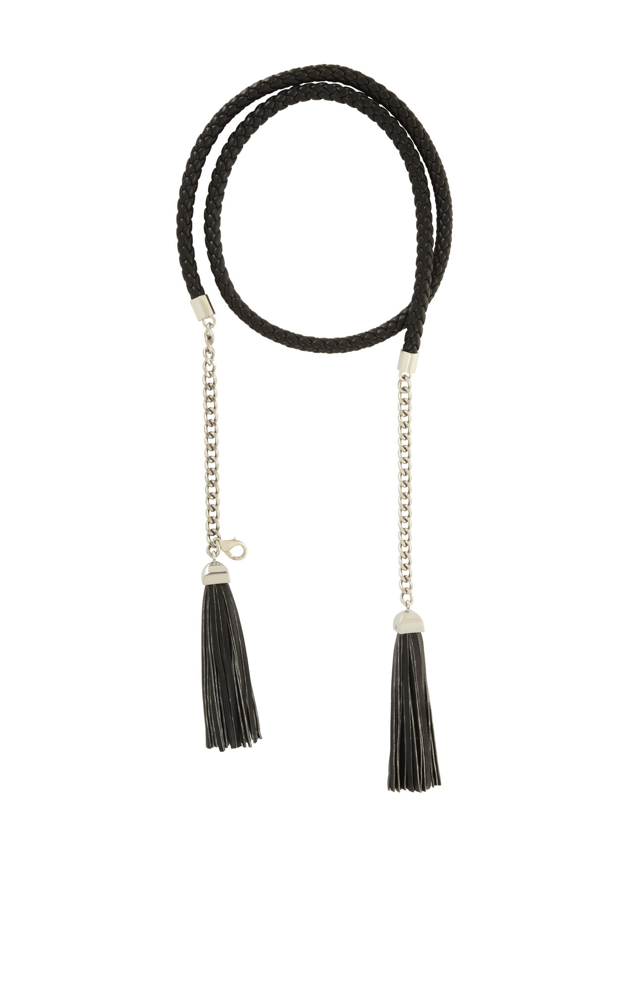 braided leather tassel belt
